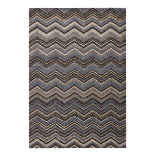 Somette Crestview Collection Blue Chevron Area Rug (5.3' x 7.7')