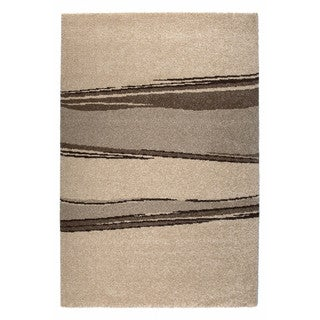 Somette Amery Collection Beige Striped Area Rug (5.3' x 7.7')