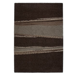 Somette Amery Collection Chocolate Striped Area Rug (5.3' x 7.7')