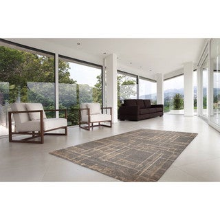 Somette Marion Collection Brown Abstract Area Rug (5.3' x 7.7')
