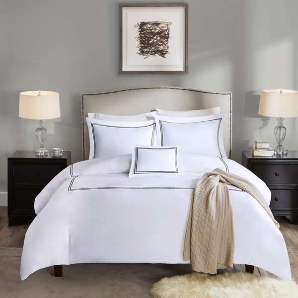 Madison Park Signature Luxury 1000 Thread Count Embroidered Cotton Sateen Duvet Cover Set