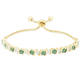 Dolce Giavonna Gold Over Sterling Silver Gemstone Adjustable Slider Bracelet