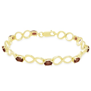 Dolce Giavonna Gold Over Sterling Silver Oval Gemstone Infinity Design Bracelet