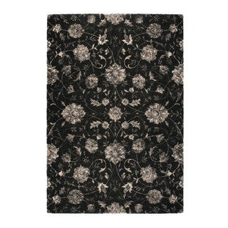 """Somette Marion Collection Charcoal Floral Area Rug (7'10"""" x 11'2"""")"""