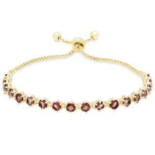 Dolce Giavonna Gold Over Sterling Silver Gemstone Tennis Style Adjustable Slider Bracelet