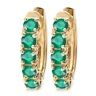 Elora 14k Yellow Gold Emerald Ladies Hoop Earrings
