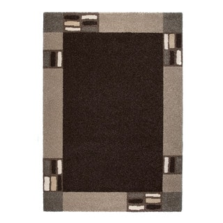 """Somette Amery Collection Black Border Area Rug (6'7"""" x 9'6"""")"""