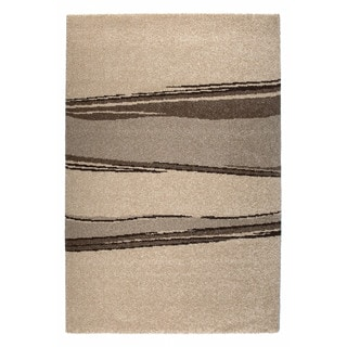 "Somette Amery Collection Beige Striped Area Rug (6'7"" x 9'6"")"