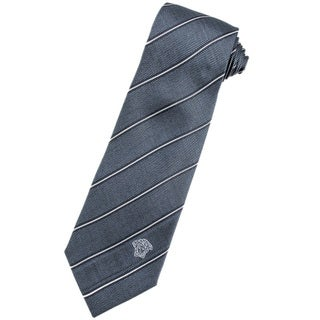 Versace 100-percent Italian Silk Slate Grey/ White Stripes Neck Tie