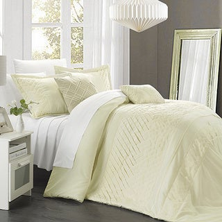 Chic Home 9-piece Corona Pleated Handmade Technique Beige Comforter Set
