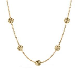 Decadence 14k Yellow Gold Diamond-cut Rosetta Station Necklace