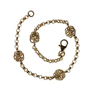 Decadence 14k Yellow Gold Diamond Rosetta Station Bracelet
