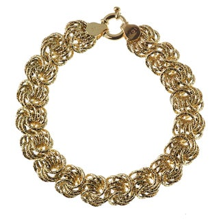 Decadence 14k Yellow Gold 13mm Textured Rosetta Bracelet