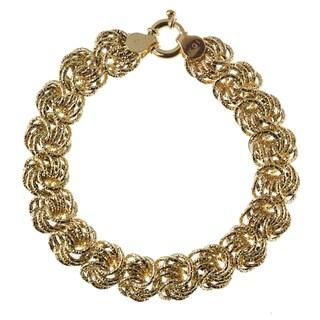 Decadence 14k Yellow Gold 13mm Textured Rosetta Bracelet