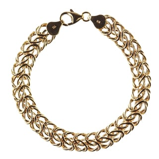 Decadence 14k Yellow Gold 10mm Hollow Interlocking Link Bracelet