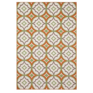 Rizzy Home Glendale Collection PowerLoomed Ivory Patterned Geometric Accent Rug (2'3 x 4')