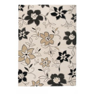 Somette Marion Collection Cream Floral Area Rug (5.3' x 7.7')