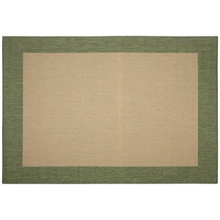 Pawleys Island Islander Natural/ Green Porch Rug (7'6 x 10'9)