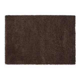 Somette Duckwater Collection Chocolate Solid Shag Area Rug (5.3' x 7.7')