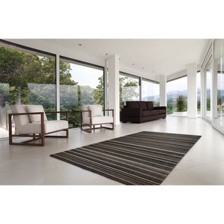 "Somette Marion Collection Dark Grey Striped Area Rug (7'10"" x 11'2"")"