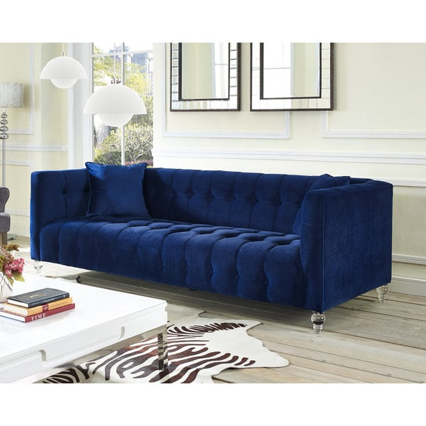 Shop Bea Navy Velvet Sofa Free Shipping Today