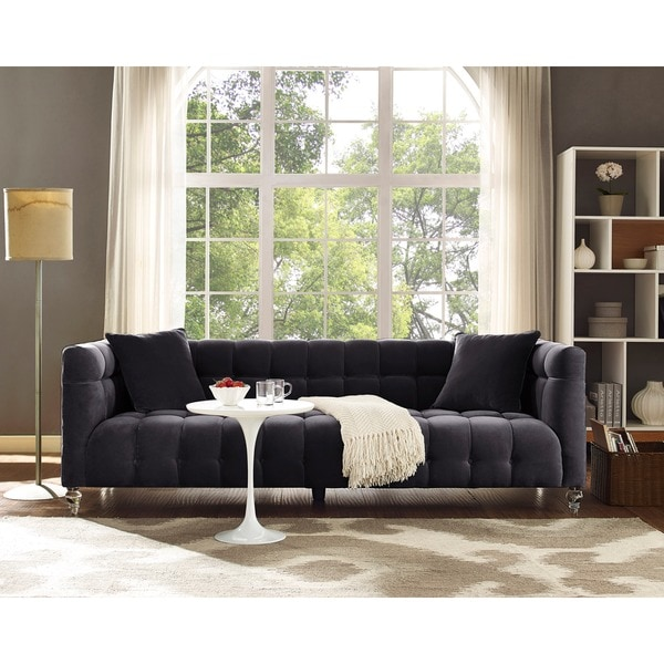 Bea Grey Velvet Sofa - Bea Grey Velvet Sofa - Free Shipping Today - Overstock.com - 18146905