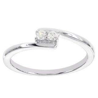 H Star Sterling Silver 1/10ct 2-stone Diamond Promise Ring (I-J, I2-I3)