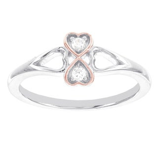 H Star Two-tone Sterling Silver Diamond Accent 2-stone Heart Promise Ring (I-J, I2-I3)
