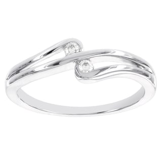 H Star Sterling Silver Diamond Accent Double Stone Promise Ring (I-J, I2-I3)