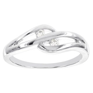 H Star Sterling Silver Diamond Accent Two-stone Cut-out Promise Ring (I-J, I2-I3)