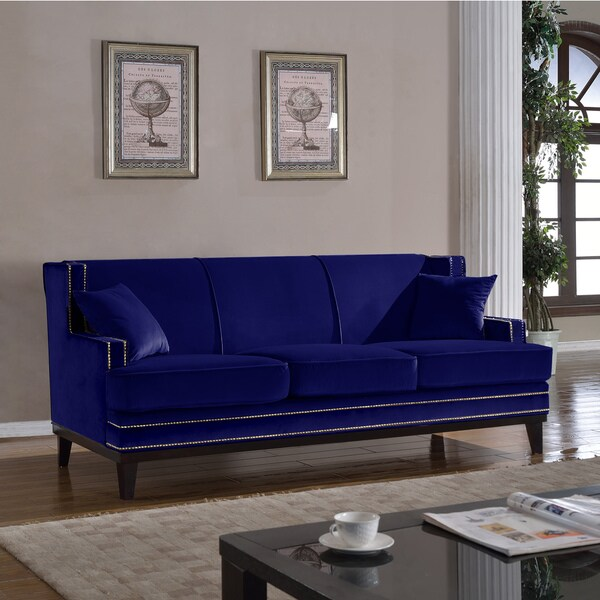 Xnron button tufted royal blue velvet sofa bed lounger with nailhead
