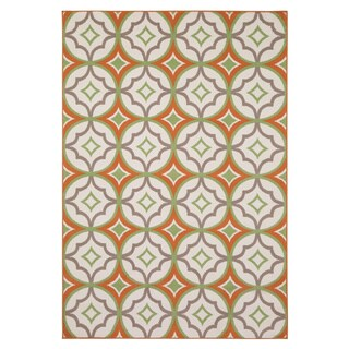 Rizzy Home Glendale Collection PowerLoomed Ivory Patterned Geometric Area Rug - 7'10 x 10'10 (2 options available)