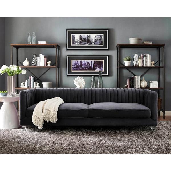 Dark Grey Velvet Sofa: Shop Aviator Grey Velvet Sofa