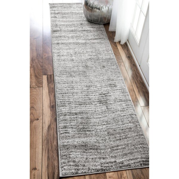 Nuloom Contemporary Waves Solid Grey Runner Rug 2 5 X 9 5