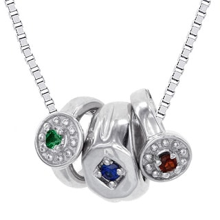 H Star 10k White Gold Boy Mini Birthstone Ring Necklace