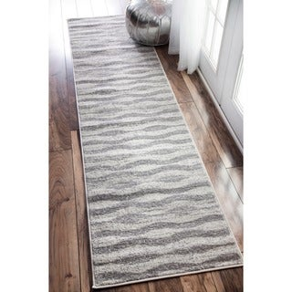 nuLOOM Contemporary Geometric Waves Grey Runner Rug (2'5 x 9'5)