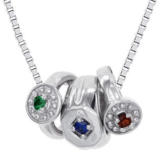 H Star 10k White Gold Mini Birthstone Ring Necklace