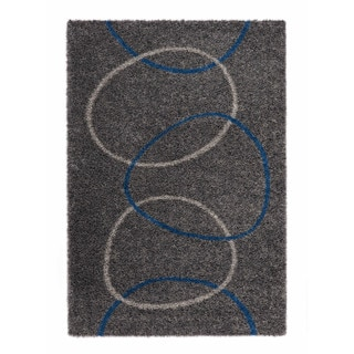 """Somette Slater Collection Graphite Geometric Area Rug (6'7"""" x 9'6"""")"""