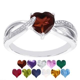 H Star Sterling Silver Heart Birthstone Diamond Accent Ring (I-J, I2-I3)