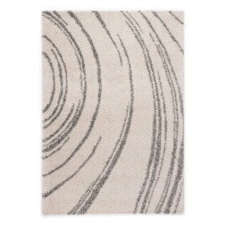 """Somette Slater Collection White Abstract Area Rug (6'7"""" x 9'6"""")"""