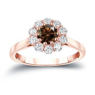 Auriya 14k Gold 1ct TDW Round-cut Brown Diamond Halo Engagement Ring (Brown, I1-I2)