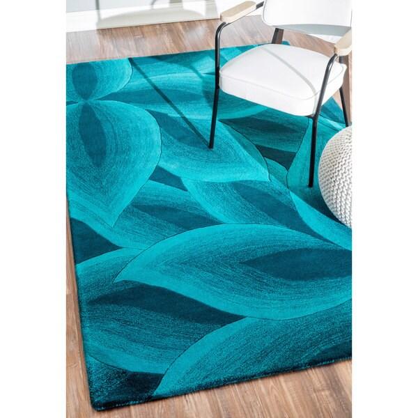Nuloom Handmade Leaves Wool Turquoise Rug 8 X27 6 X 11