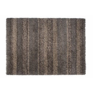 "Somette Duckwater Collection Chocolate Geometric Shag Area Rug (6'7"" x 9'6"")"