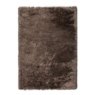 "Somette Gratz Collection Chocolate Solid Shag Area Rug (6'7"" x 9'6"")"