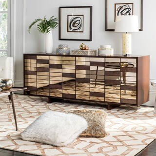 Safavieh Couture High Line Collection Verna Dark Walnut Mirrored Storage Buffet