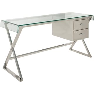 Safavieh Couture Collection Tyson Stainless Steel Glass Top Storage Desk