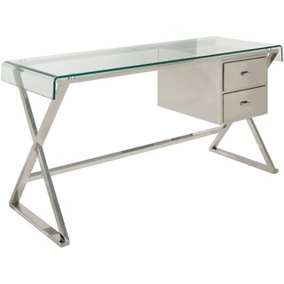 Safavieh Couture High Line Collection Tyson Stainless Steel Glass Top Storage Desk