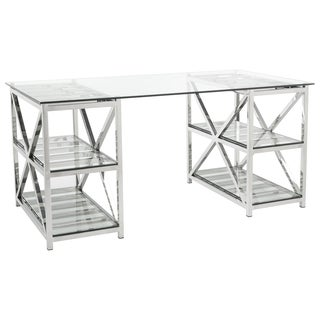 Safavieh Couture High Line Collection Nelson Stainless Steel Glass Top Desk