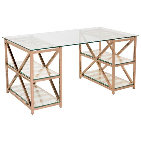 Safavieh Couture High Line Collection Nelson Rose Gold Stainless Steel Glass Top Desk