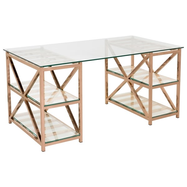 Safavieh Couture High Line Collection Nelson Rose Gold Stainless Steel Glass Top Desk by Safavieh